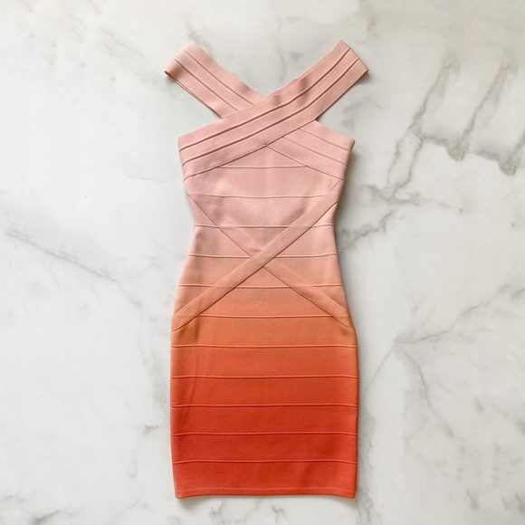 Herve Leger Ombré Bandage Dress